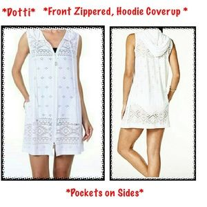 BNWOTS Dotti White Hoodie Front Zipper Up Coverup